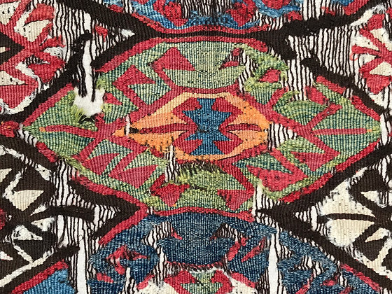 Kilim from the Mut region of Central Anatolia, mounted on linen