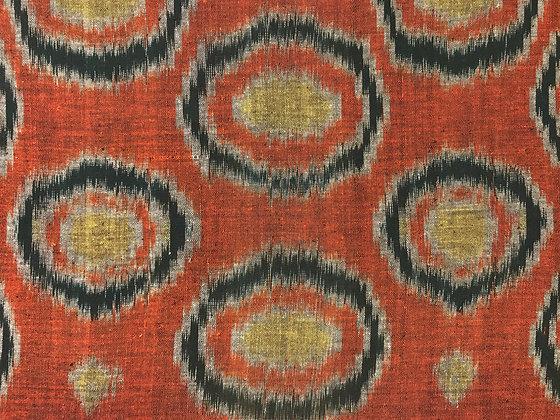 Japanese kasuri (ikat) fragment mounted on linen – circular motifs