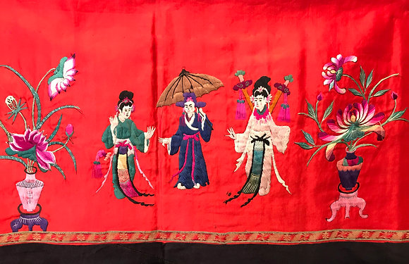 Chinese red silk panel with fine silk embroidery