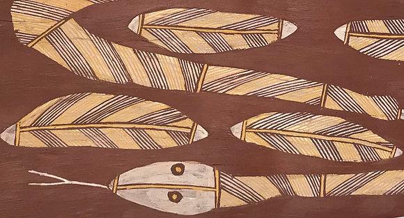 Australian Aboriginal bark painting – Rock python and five eggs