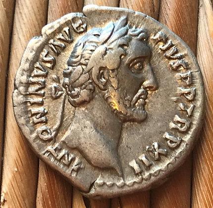 Roman silver denarius of Antoninus Pius, circa 138 - 161 AD