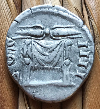 Roman silver coin (denarius) issued by Antoninus Pius, circa 145 - 161