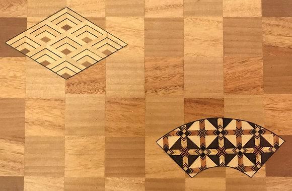 Set of small wooden draws decorated with Japanese marquetry (Yosegi zaiku)