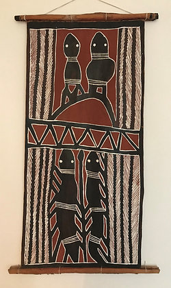 Aboriginal bark painting – frogs and snakes