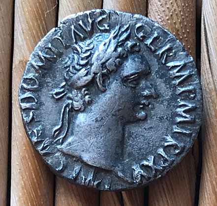 SOLD Roman silver coin (denarius) issued by the Emperor Domitian, 81 – 96 AD.