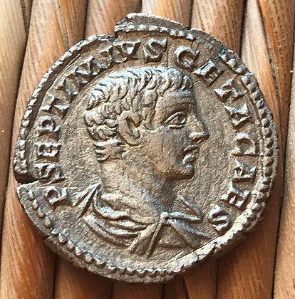 Roman silver denarius of Geta, 202 - 209 AD