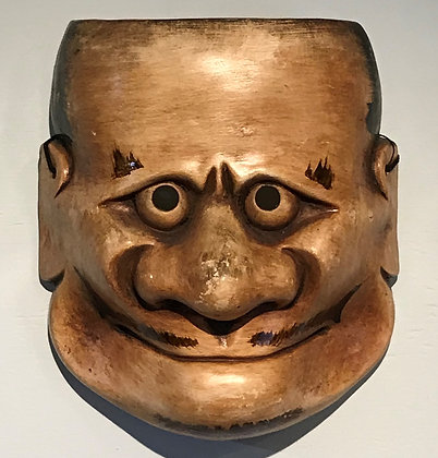 Japanese ceramic mask of theatre character