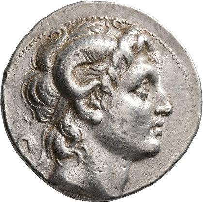 Ancient Greek silver coin issued by Lysimachos (305 - 281 BC)
