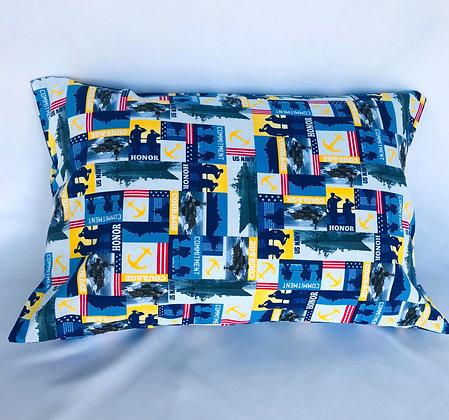 Navy Healing Hearts Pillow