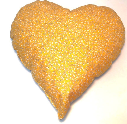 Golden Heart with Gray Sueded Look Back Heart Cough Pillow,