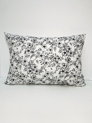Black and White Floral Pillow Cover and Insert