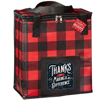 Buffalo Plaid Laminated Insulated Cooler Bag