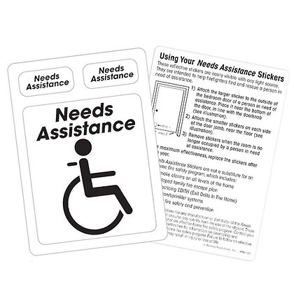 Needs Assistance Emergency Locator Reflective Stickers Pack