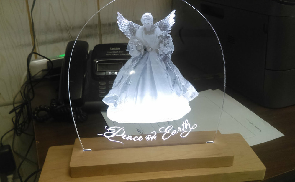 Lasercut Acrylic Angel Nightlight