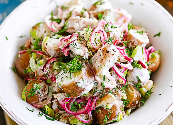 Mustard & Pickled Onion Creamy Potato Salad (serves 4)
