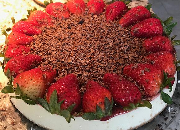 Strawberry & Dark Chocolate Whole White Chocolate Cheesecake
