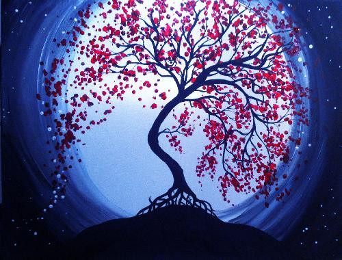 Blue moon cherry blossoms is the painting guests attending the paint nite for the Stirling and District Lions Club fundraiser. Photo courtesy paint nite