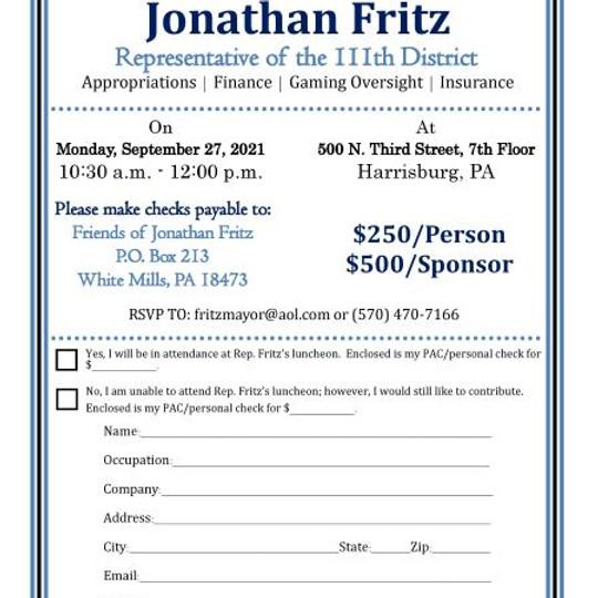 Rep. Jonathan Fritz's Luncheon