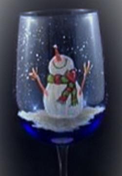 Wine Glass Snowman
