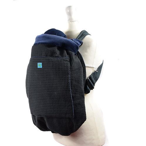 Kunicape,tragecover,cover,Wetterschutz,babytrage,schwarz,blau,marine,waffelmusterr