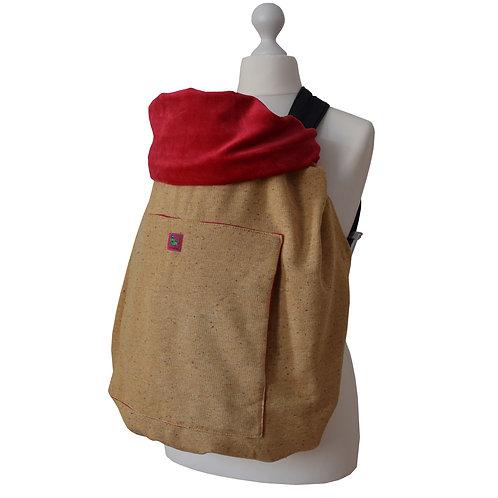 KUNICAPE, Kinderwagendecke, Tragecover, Sonnensegel, Fahrradsitzdecke, Fußsack, Tragecover, wetterschutz, beige, rot