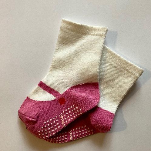 Babysocken, Ballerinasocken - rosa, weiß