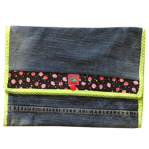 KUNIDIAPER Wickelclutch ♥ Jeans, Erdbeeren