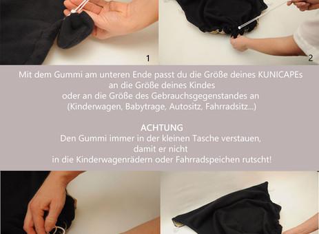 KUNICAPE Anleitung - Wie der Gummi am unteren Ende genutzt wird.