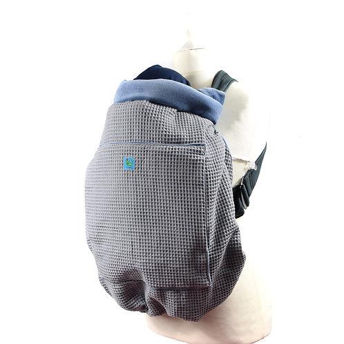 Kunicape,tragecover,cover,Wetterschutz,babytrage,hellblau,grau,waffelmusterr