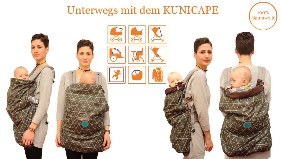 Kunicape, Cover für alle Babytrage, Rückentrage Cover, Tragecover Sommer, Tragecover Winter