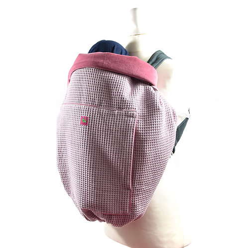 Kunicape,tragecover,cover,Wetterschutz,babytrage,rosa,rose,pink,waffelmusterr