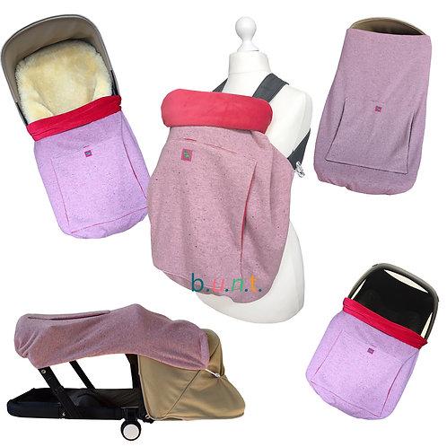 KUNICAPE, Kinderwagendecke, Tragecover, Sonnensegel, Babydecke, Windschutz Kinderwagen, outdoor, baby, rosa, braun