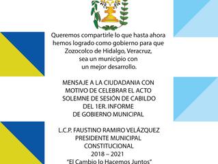 Primer Informe de Gobierno del L. C. P. Faustino Ramiro Velázquez