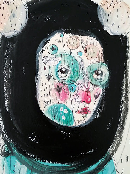I have a flower garden on my face-  Fine Art PRINT