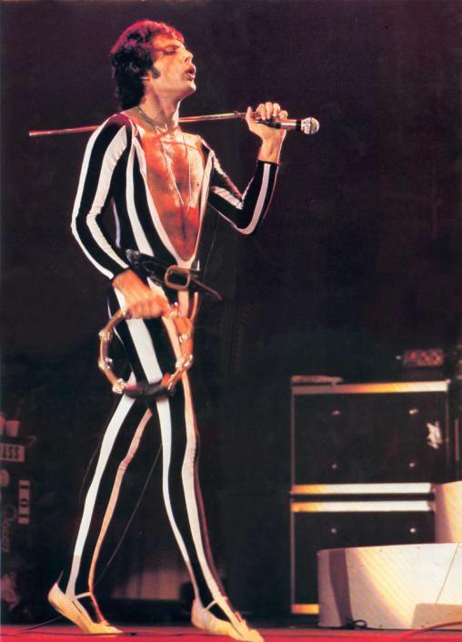 Freddie Mercury, harlequin catsuit 1970s