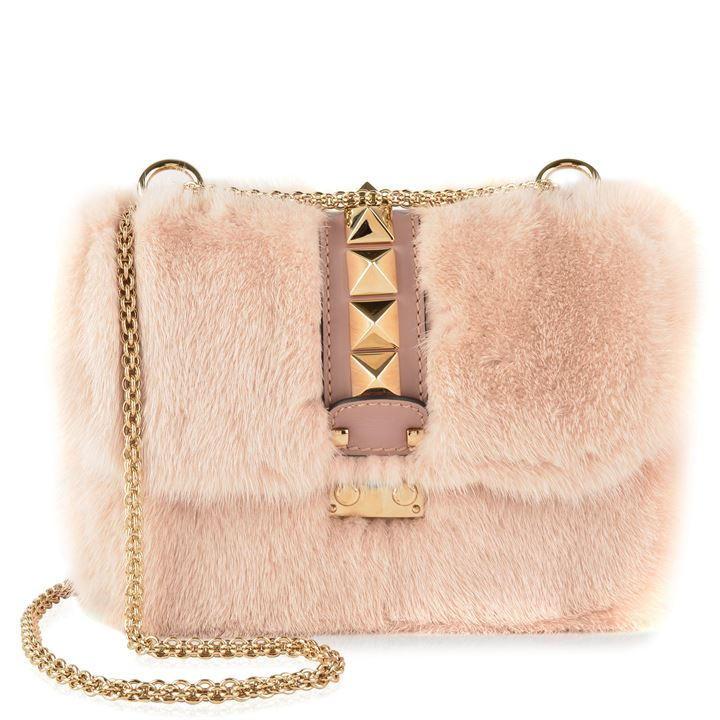 VALENTINO Mink Fur Rockstud Chain Bag