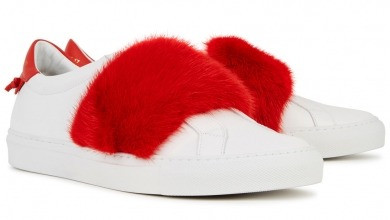GIVENCHY White fur-embellished leather trainers