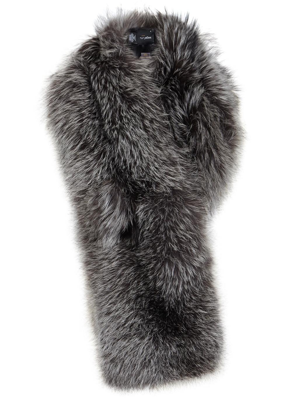 LILLY E VIOLETTA Grey fox fur scarf