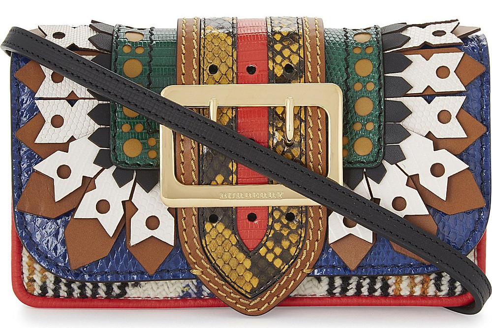 BURBERRY Buckle ruffle leather patchwork shoulder bag