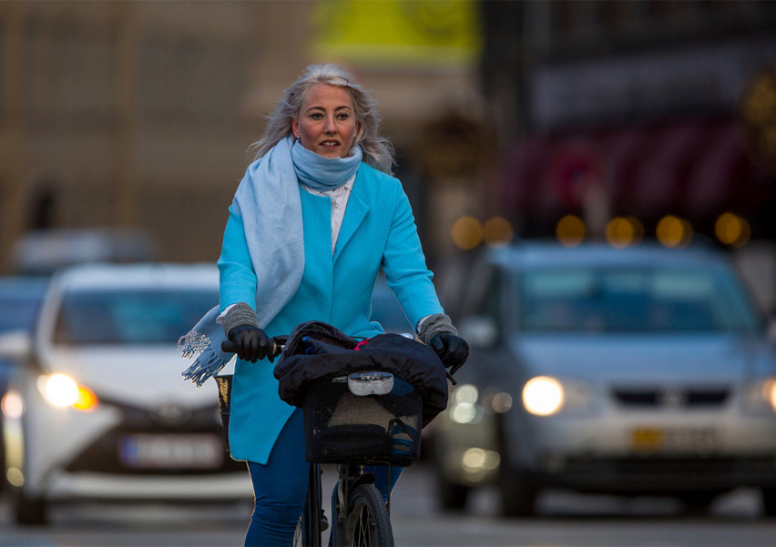 This woman knows where she is going and is leading the traffic