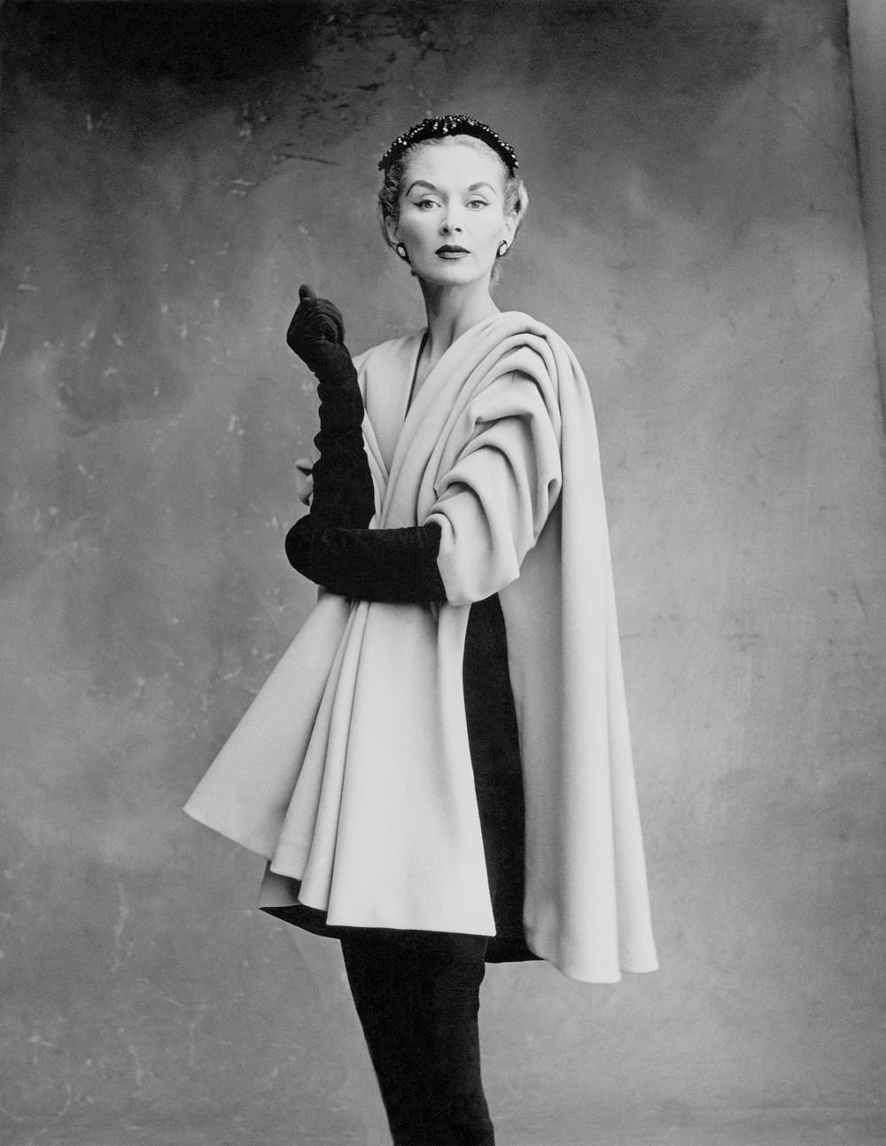 Lisa Fonssagrives-Penn wearing coat by Cristóbal Balenciaga, Paris, 1950. Photograph by Irving Penn © Condé Nast, Irving Penn Foundation