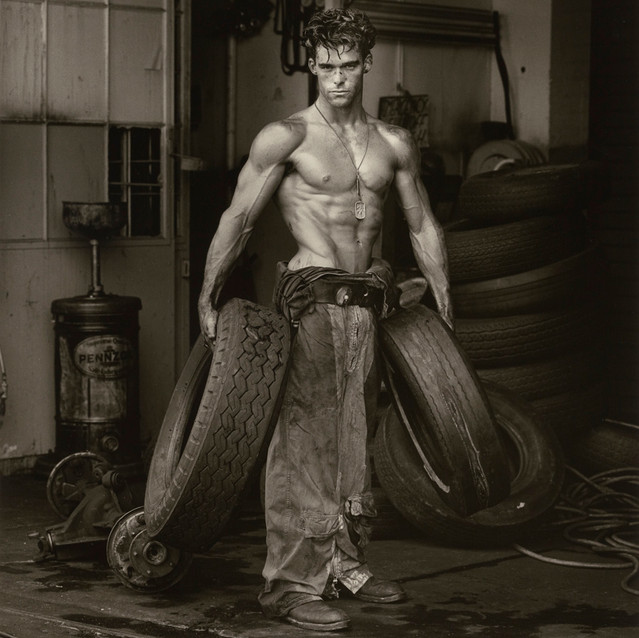 Herb Ritts American, 1952–2002 Fred with Tires, Hollywood, 1984 From the Body Shop series Gelatin silver print 47.1 x 38.6 cm (18 9/16 x 15 3/16 in.) The J. Paul Getty Museum, Los Angeles, Gift of Herb Ritts Foundation © Herb Ritts Foundation 2011.18.25