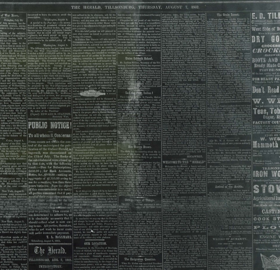 Advertisements from the Herald