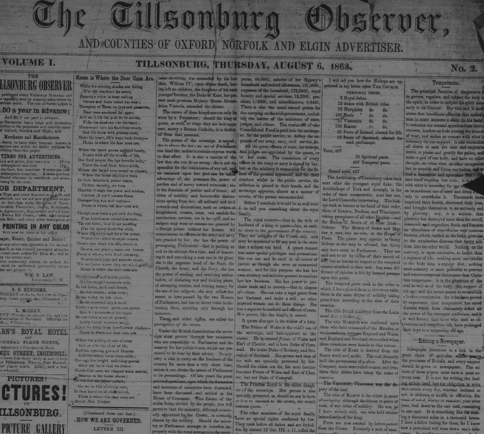 The Tillsonburg Observer 1863