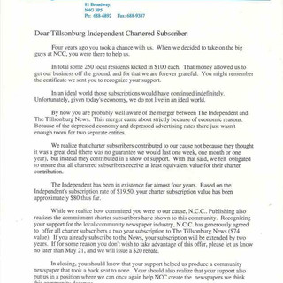 Letter to Charter Subscribers