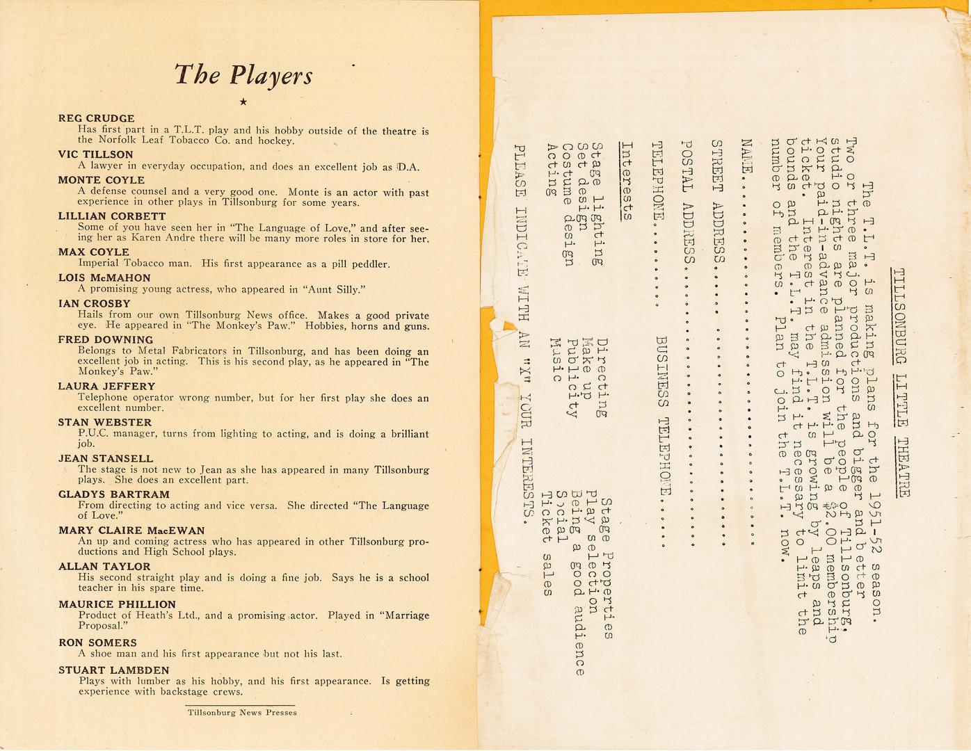 Cast from Tillsonburg Little Theatre Production