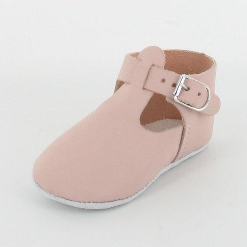 Chaussons bébé en cuir Salomé avec boucle - Le Petit Fils du Cordonnier
