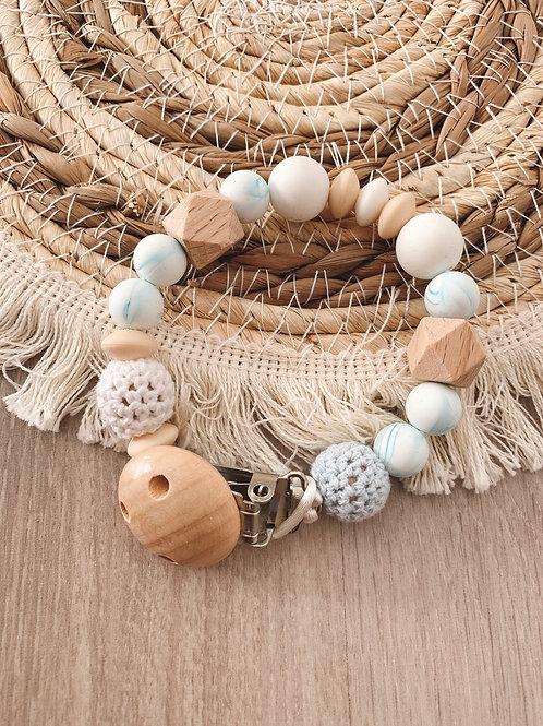 Attache tétine bois, crochet et silicone