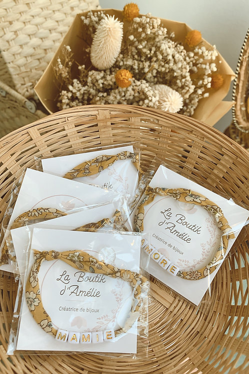 Bracelet cordon Liberty fleuri moutarde - La Boutik d'Amélie
