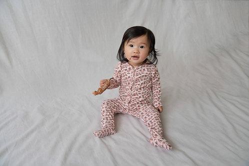Pyjama imprimé rose avec pieds - Riffle Amsterdam